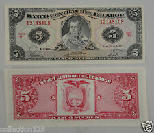 Ecuador Paper Money 5 Sucres 1983 UNC