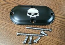 Black with Chrome Skull Inspection Cover 1965-2006 Harley Models Softail Dyna