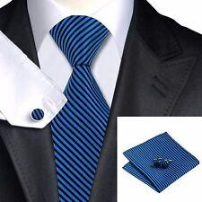 Para hombre azul marino y negro rayas diagonales Corbata + Pañuelo & cuflinks Juego Set 238