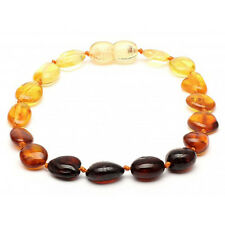 Genuine Baltic Amber Knotted Adult Bracelet Unisex 18cm Rainbow ABB 145