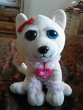Great Wolf Lodge Plush White Cream Wolf or Chihuahua Pink Trim 12 Inches Seated