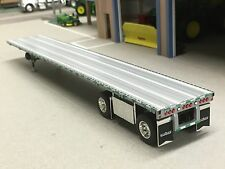 1/64 DCP SILVER WILSON ROAD BRUTE SPREAD AXLE FLATBED TRAILER W/ WHEEL BOX