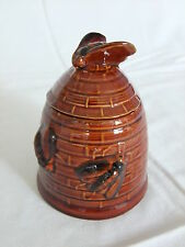 Brown Honey Pot decorated with bees and Lid with bee finial