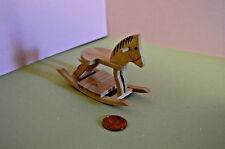 Miniature Rocking Horse, Wooden, Oak in 1:12 doll scale