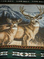 VTG.BIEDERLACK.WHITETAIL DEER.BUCK.RACK.MOUNTAINS.DESIGN BORDER. BLANKET