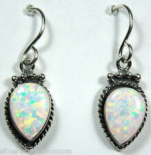 White Fire Opal Solid 925 Sterling Silver Dangle Earrings - Handcrafted in USA
