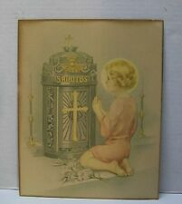 Religious Picture Child Praying at Altar Devotional Litho Vintage 1932