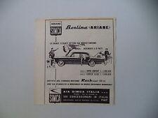 advertising Pubblicità 1961 SIMCA BERLINA ARIANE