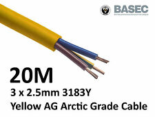 20M Arctic Yellow 3183Y Flex Cable 3core x 2.5mm Outdoor Construction Artic