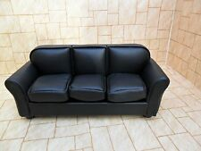 Dolls house 3 seater black leather sofa
