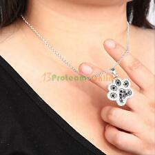 New Silver Black White Diamond Accent Dog Paw Print Pendant Necklace With Chain