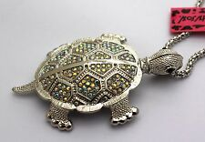 Free Shipping! New sparkling crystal, beautiful silver turtle necklace # A129