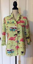 Nick & Nora Women's Pajama Top Medium Green Flamingo BBQ Camping