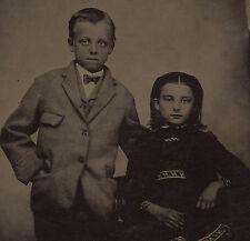 OLD VINTAGE ANTIQUE TINTYPE PHOTO of HANDSOME YOUNG BOY & GIRL BROTHER & SISTER