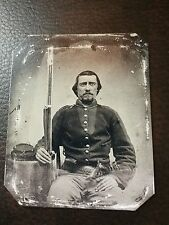 Civil War Military Soldier With Rifle & Gun TinType C206SP
