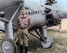 "CHARLES LINDBERGH SPIRIT OF ST. LOUIS 1927 8x10"" HAND COLOR TINTED PHOTOGRAPH"