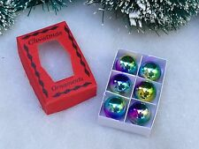 Miniature Dollhouse FAIRY GARDEN ~ Tiny Box of CHRISTMAS Ornaments Red ~ NEW