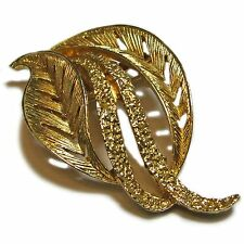 Gold Tone Metal Abstract Leaf Pin--Price Reduced!