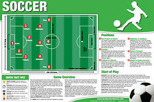 SOCCER INSTRUCTIONAL WALL CHART Poster - Rules, Positions, Pitch, etc.