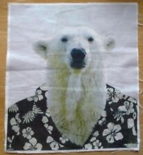 Animal Selfie Polar Bear Fabric Remnant 10 inch x 8.5 inch