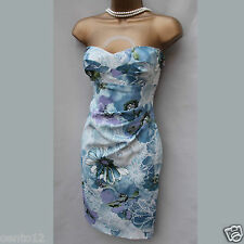 Exquisite Karen Millen Romantic Floral Stretch Satin Wiggle Cocktail Dress 14 UK
