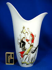 Beautiful handpainted 50´s design Wunsiedel Porzellan #  porcelain vase 26,5 cm