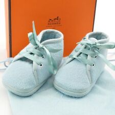 Authentic  HERMES Baby Shoes Light Blue Wool #S1192