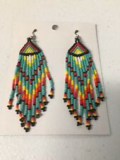 Native American Navajo Beaded Dangle Earrings Lucille Romone Jewelry Beautiful..