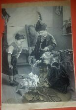Neyret Freres Stevengraph Silk Woven Picture Of Three Playing Children