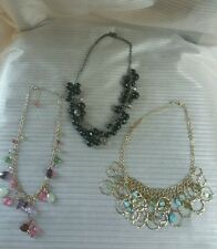 Vintage Necklaces Lot of 3 Link Rings with Rhinestones - Black Beads - Crystals