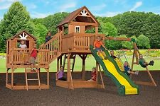 New Giant 2 Clubhouse Wooden Playground Swing Set Slide Malibu Cedar Wood