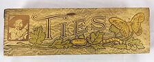 Antique Pyrography Burned Wood Catapillar Butterfly Sir Raleigh Ties Box