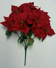 Large Microfiber Red Poinsettia 9-Bloom Tall Bouquet Holidays Flower Home Decor