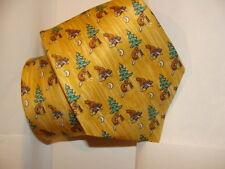 HERMES silk tie whimsical collection BEAVERS AND LOGS !! NEW