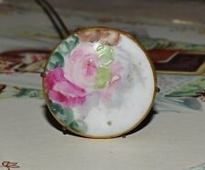 Antique Victorian Hat Pin Porcelain Hand Painted Roses Hatpin