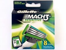 GENUINE, BRAND NEW GILLETTE MACH3 SENSITIVE 8 BLADES REFILL CARTRIDGES