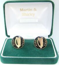 1990 IRISH Cufflinks made from old IRELAND  coins in Black & Gold