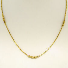 """18K Solid Yellow Gold 16"""" Squared Cable Link Chain Necklace w/ 5 Rope Sections"""