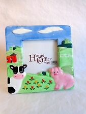 "Picture Frame Holds 2.5"" Farm Pig Cow Barn Photo Ceramic Figi Table Top Display"
