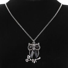 Women Black Crystal Owl Pendant Silver Plated long Chain Necklace Women