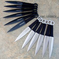 "12 Pc 6"" Ninja Tactical Combat Naruto Kunai Throwing Knife Set w/ Sheath Hunting"