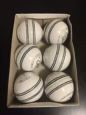 6 White Cricket Ball - Leather Entirely Hand Stitched, 5.5oz For 25 Overs