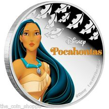 POCAHONTAS  - 2016 1 oz Silver Color Proof Coin - DISNEY Princess Series - Niue