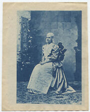 ANTIQUE CYANOTYPE PHOTO OF WOMAN IN GARDEN SETTING, PAINTED BACKGROUND.