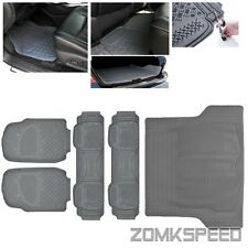 All Weather Heavy Duty Floor Mats Grey Rubber Universal Front & Rear 5PC Liner