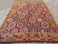 "Vintage Turkish Rug For Sale,Embroidered Kilim 75,9""x111"" Area Rug,Kelim,Carpet"