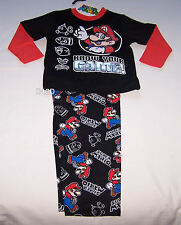 Nintendo Super Mario Boys Black Cotton Flannel Pyjama Set Size 6 New