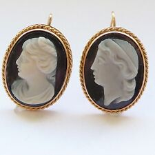 Antique Victorian Cameo Earrings in 18 Carat Gold Hardstone Banded Agate