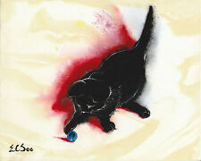 Cat Ball Match Original Acrylic Abstract Painting Artist Signed 2000-Now