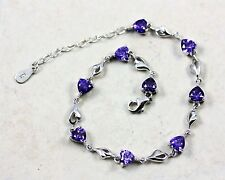 Pretty Solid 925 Sterling Silver, Purple amethyst Bracelet / Bangle + BOX